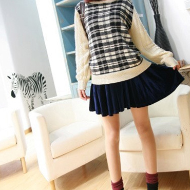 Casual Pure Colour High-Waist Skater Skirt