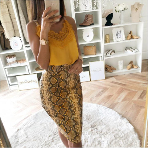 Fashion Elastic Serpentine High-Waist Skirt