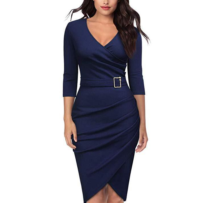 Fashion V Neck Pure Colour Bodycon Dresses