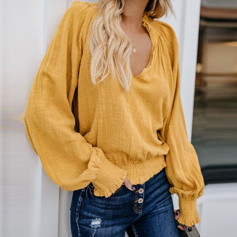 Fashion V Neck Pure   Colour Top