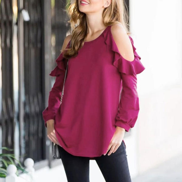 Fashion Pure Colour   Off-Shoulder Ruffled Top