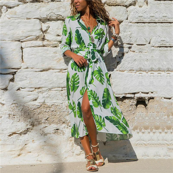 Casual V-Neck Printed Lace Up Maxi Dress