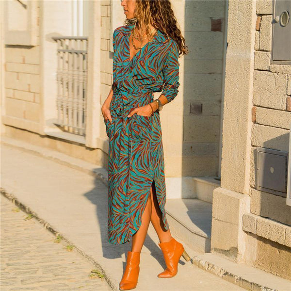 Fashion Casual V-Neck   Printed Lace Up Maxi Dress