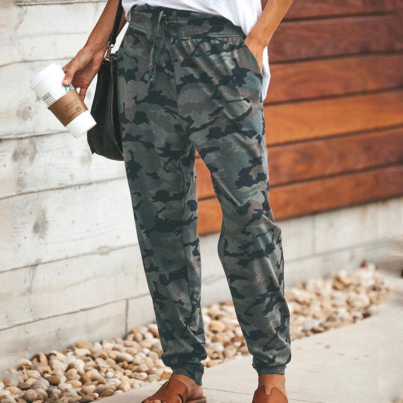 Fashion Bandage Camouflage Printed Colour Pants