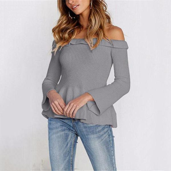 Casual Slim Sexy One   Shoulder Long Sleeve Knit Sweater