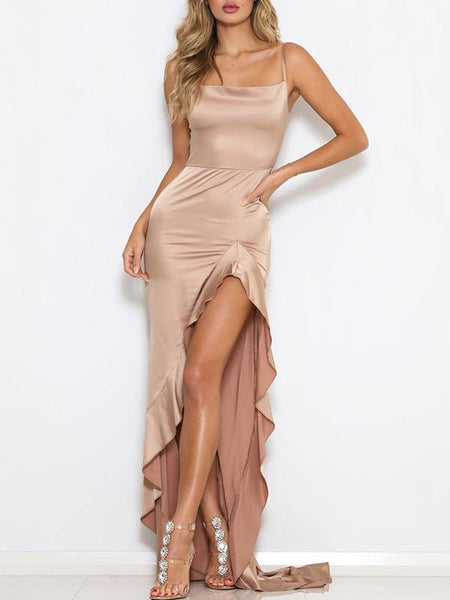 Sexy Bare Back Slit Sling Pure Colour Maxi Dresses