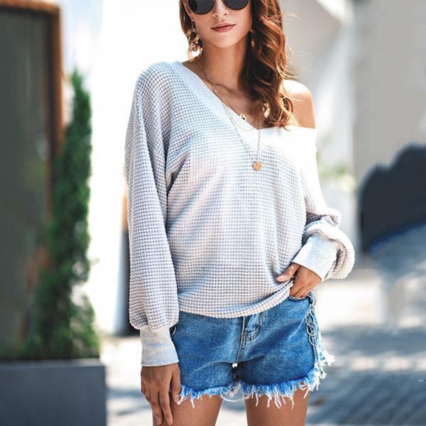 Casual Pure Color Long   Sleeve V Neck Knit Sweater