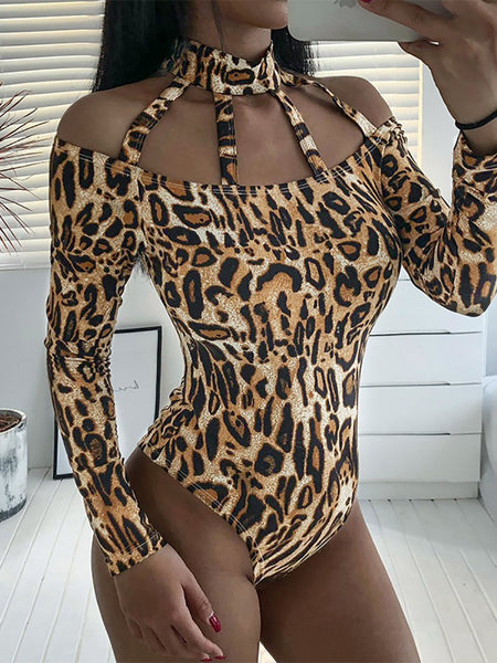 Sexy Leopard Print Hollow Out Stand Collar T-Shirt