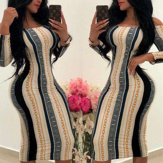 Fashion Off-Shoulder Printed Colour Long Sleeve Bodycon Dresses