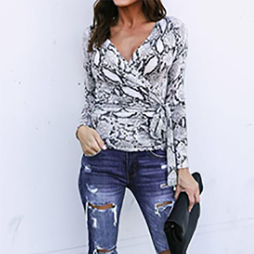 Casual V Neck Snake Printed Colour Long Sleeve T-Shirt