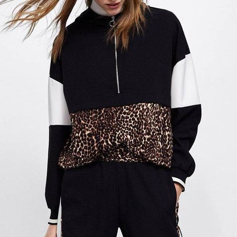 Fashion Leopard Printed Colour Splicing Hoodie