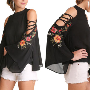 Fashion Bishop Sleeve Off-Shoulder Inwrought Loose T-Shirt