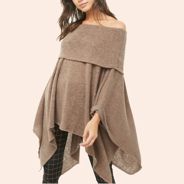 Fashion Off-Shoulder Pure Colour Cloak Dress