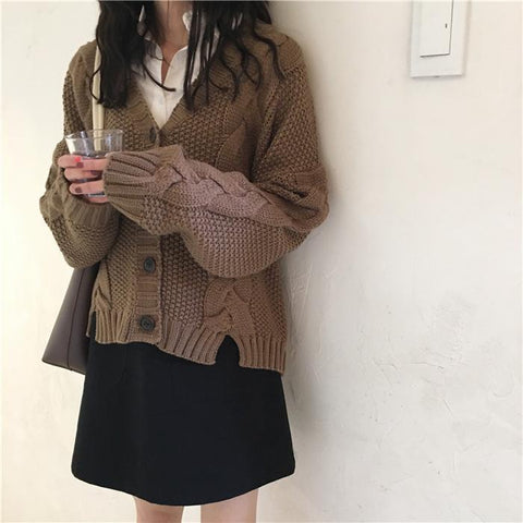 Casual V Neck Linen Pure Colour Loose Slit Sweater Coat
