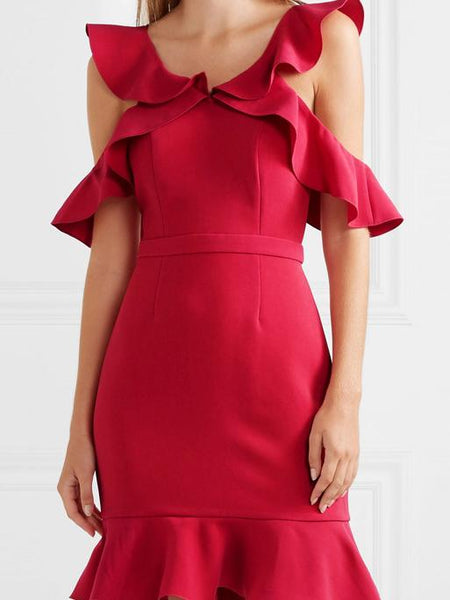 Casual Sleeveless Off-Shoulder Ruffled Pure Colour Bodycon Dresses
