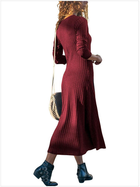 Casual V Neck Loose Pure Colour Long Sleeve Casual Dresses