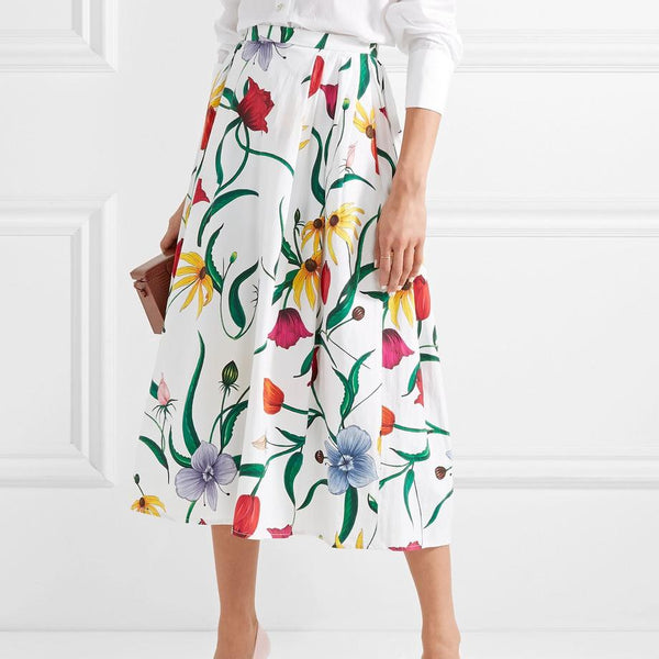 Fashion Printed Colour High-Waist Skirt