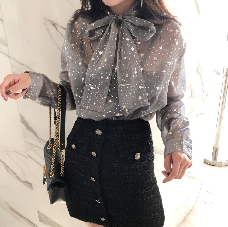 Fashion Organza Bow Star Pattern Long Sleeve Shirt
