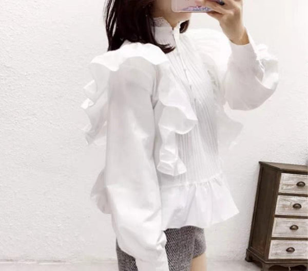 Fashion Lace Ruffled Splicing Pure Colour Shirt