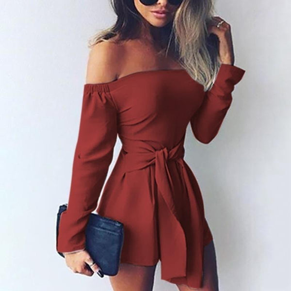 Casual Sexy One Word   Led Long Sleeve Pure Color Jumpsuits
