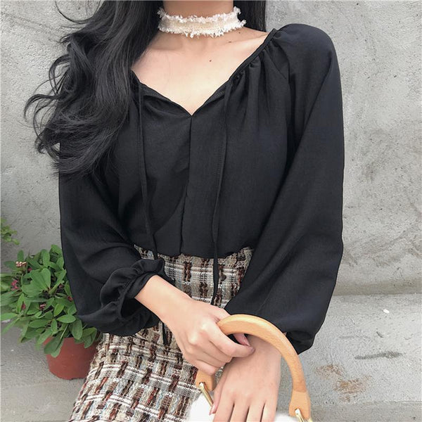 Fashion Bishop Sleeve Hollow Out Cross Strap Shirt