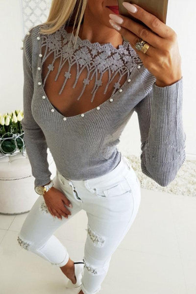 Crew Neck  Beading See Through  Plain T-Shirts