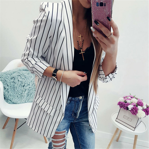 Sexy Long-Sleeved Striped Suit Blazer