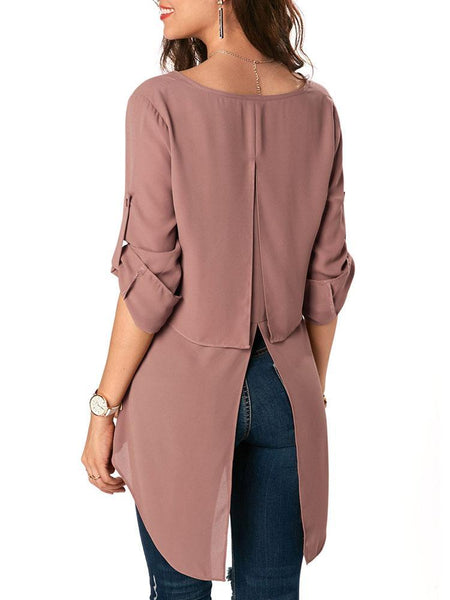 Casual V Neck Loose Irregular Pure Colour Coattail Chiffon T-Shirt