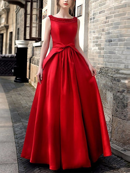 Fashion Sleeveless Bead Pure Colour Evening  Dresses