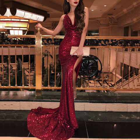 V-Neck Red Sparkling Evening Dress