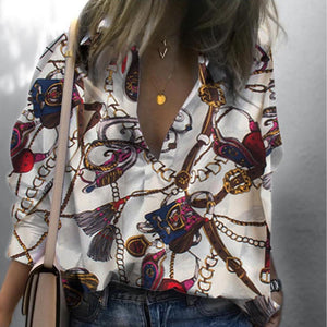 Casual Printed Colour Loose Long Sleeve Shirt