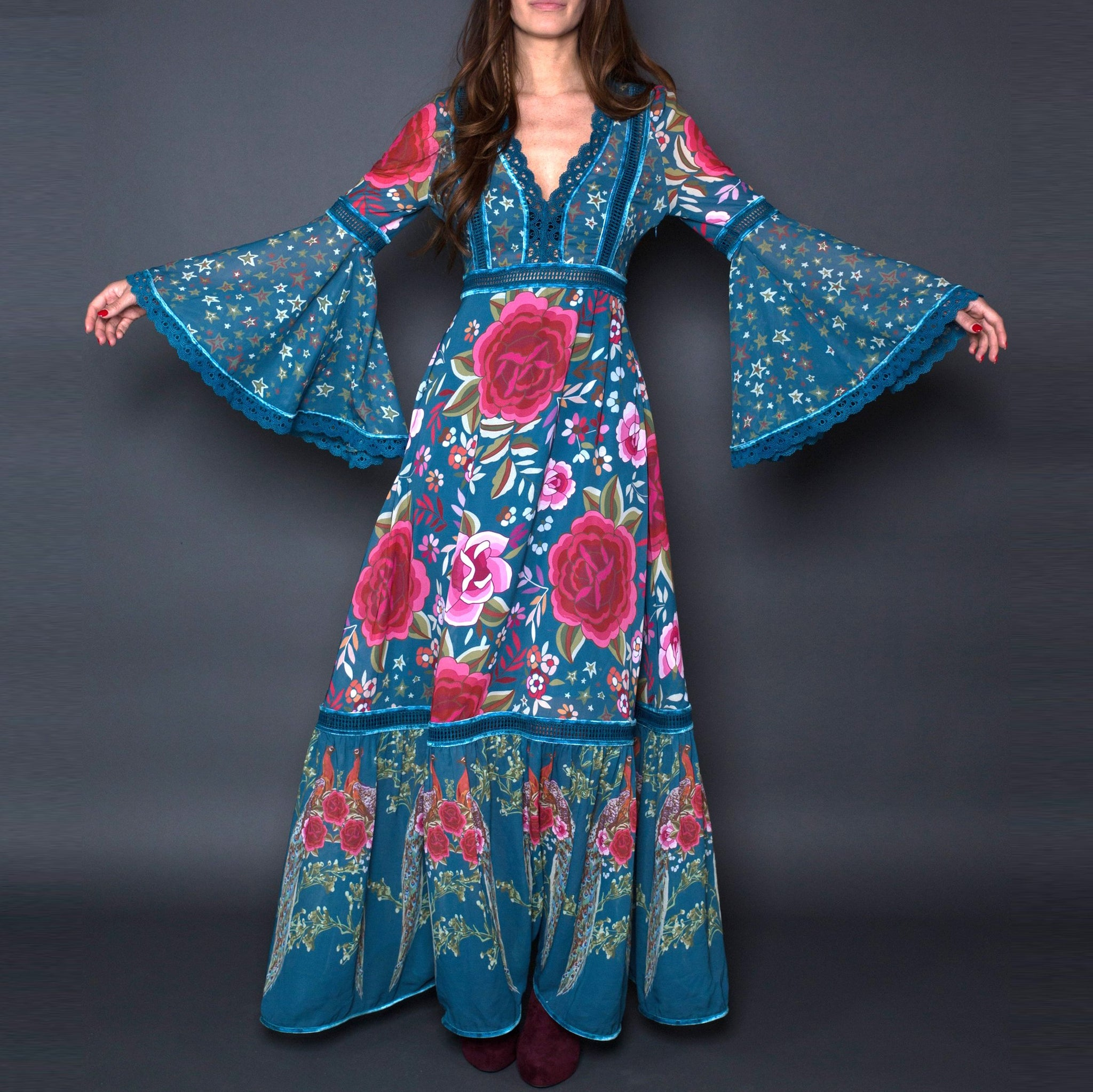Fashion Floral Pattern   Printed Bell Sleeve Maxi Dress