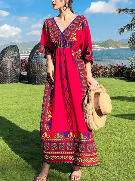 Bohemian Printed Colour Slim Maxi Dresses