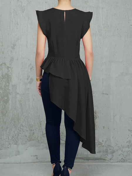 Fashion Sleeveless Round Neck Irregular T-Shirt