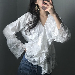 Casual Lace Bell Sleeve V Neck Pure Colour Shirt