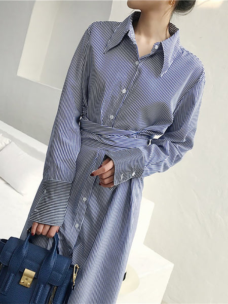 Fashion Striped Belted Long Shirt