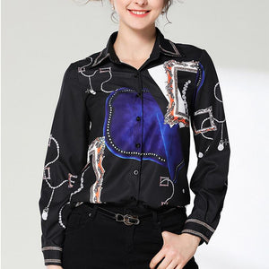 Fashion Turndown Collar Printed Colour Slim Shirt
