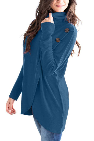 High Neck  Decorative Buttons  Plain Cardigans