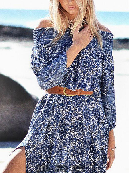 Casual Off-Shoulder Printed Colour Maxi Dresses