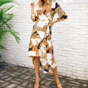 Fashion Sexy Print V-Neck Dress