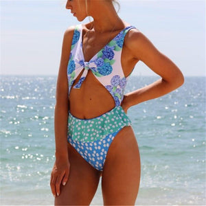 Vacation Sandbeach   Sexy Floral Pattern Printing Swimsuits Bikini