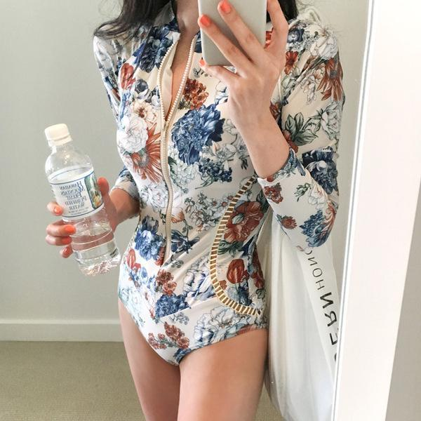 Vacation Sandbeach Sexy Floral Pattern Printing Zipper Swimsuits