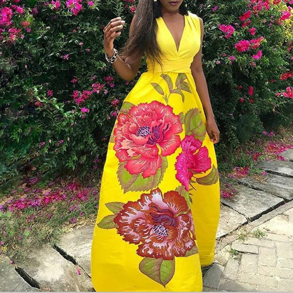 Fashion Sleeveless V Neck Printed Colour Maxi Dresses