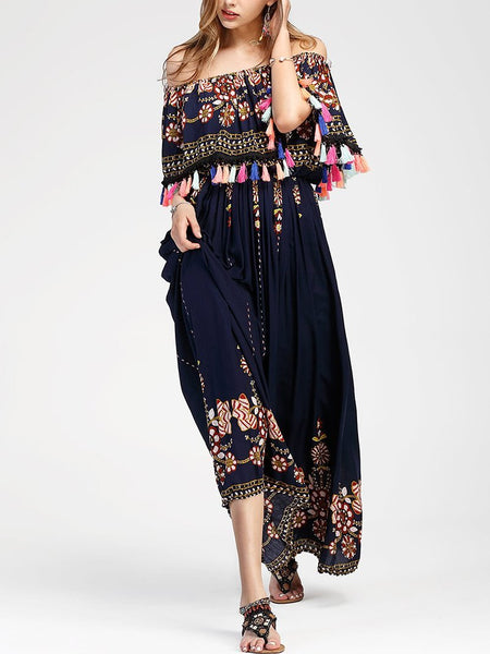 Bohemian Printed Colour Off-Shoulder Tassel Maxi Dresses