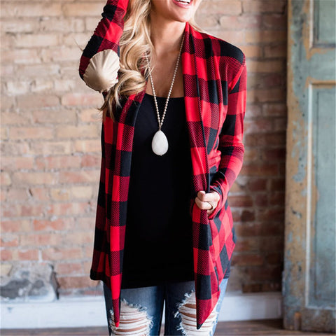 Plaid Printed Long Sleeve Cardigan Coat