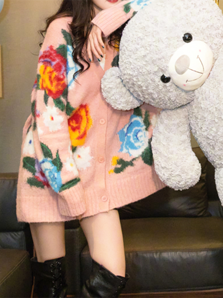 Fashion Mohair Floral Pattern Sweater Coat