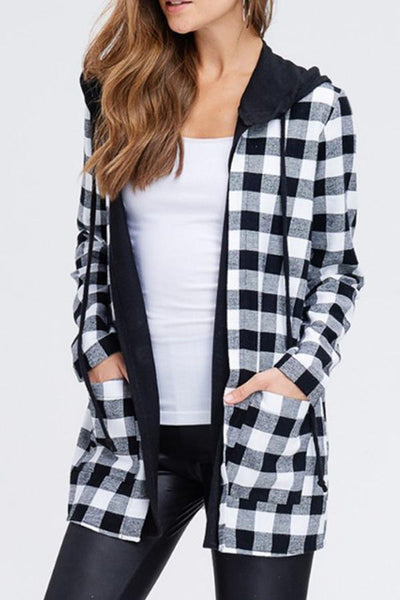 Hooded  Snap Front  Gingham Cardigans