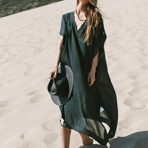 Fashion Loose Pure Colour Beach Maxi Dresses