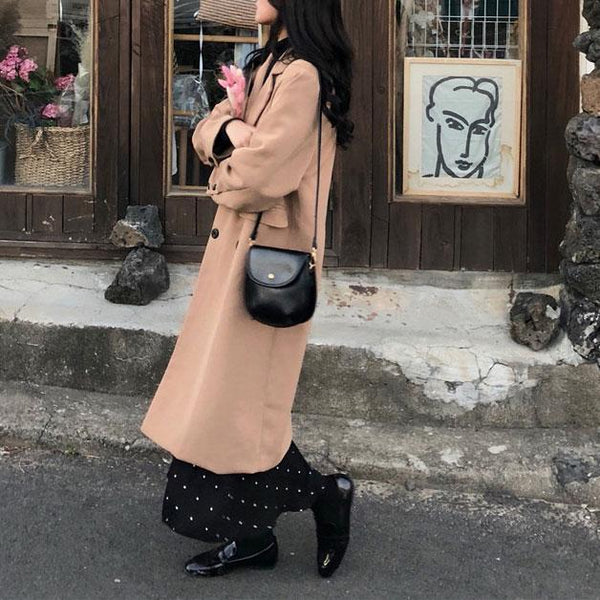 Fashion Lapel Plain Loose Woolen Long Coat