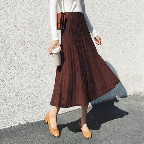 Fashion Pure Color   Slim Show Thin High Waist A Skirt